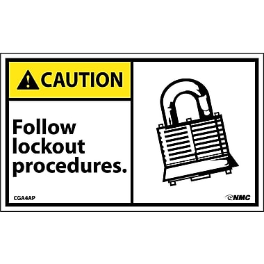 Caution, Follow Lockout Procedures (Graphic), 3X5, Adhesive Vinyl, 5/Pk