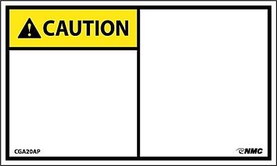 Caution, Blank, 3X5, Adhesive Vinyl 5/Pk
