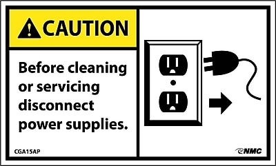 Caution, Before Cleaning Or Servicing Disconnect Power Supply (Graphic), 3X5, Adhesive Vinyl, 5/Pk