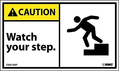 Caution, Watch Your Step (Graphic), 3X5, Adhesive Vinyl, 5/Pk