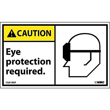 Caution, Eye Protection Required (Graphic), 3X5, Adhesive Vinyl, 5/Pk