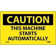 Caution, This Machine Starts Automatically, 3X5, Adhesive Vinyl, 5/Pk