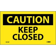 Caution, Keep Closed, 3X5, Adhesive Vinyl, 5/Pk