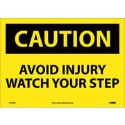 Caution, Avoid Injury Watch Your Step, 10X14, Adhesive Vinyl