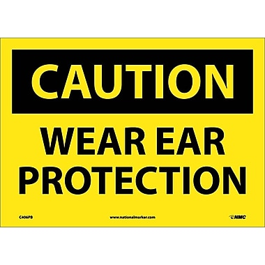 Caution, Wear Ear Protection, 10X14, Adhesive Vinyl