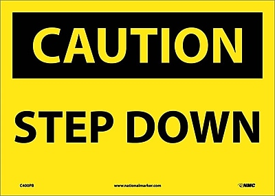 Caution, Step Down, 10X14, Adhesive Vinyl