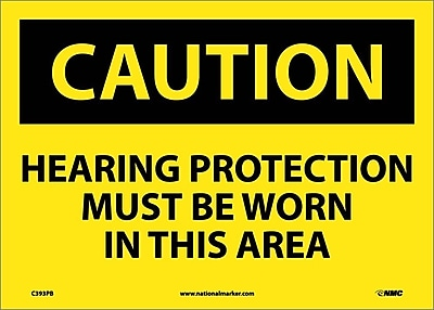 Caution, Hearing Protection Must Be Worn In This Area, 10X14, Adhesive Vinyl