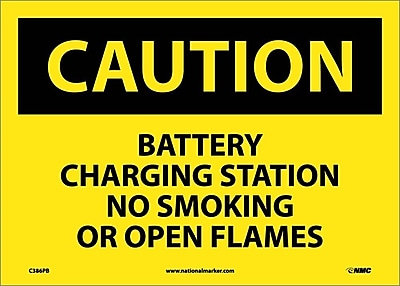 Caution, Battery Charging Station No Smoking. . ., 10X14, Adhesive Vinyl