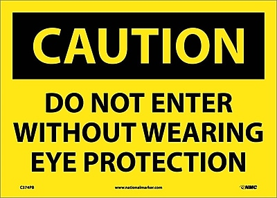 Caution, Do Not Enter Without Wearing Eye Protection, 10X14, Adhesive Vinyl