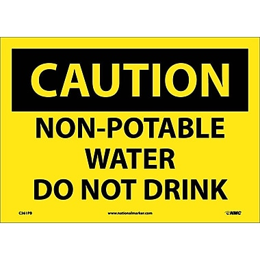Caution, Non-Potable Water Do Not Drink, 10X14, Adhesive Vinyl