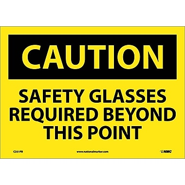 Caution, Safety Glasses Required Beyond This Point, 10X14, Adhesive Vinyl