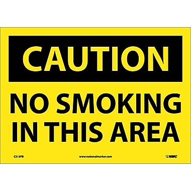 Caution, No Smoking In This Area, 10X14, Adhesive Vinyl