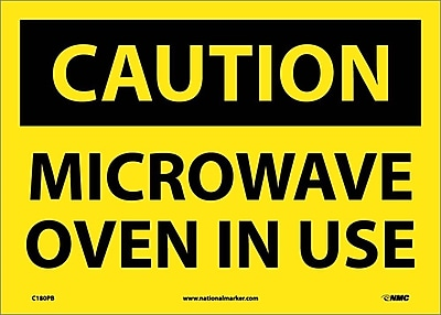 Caution, Microwave Oven In Use, 10X14, Adhesive Vinyl