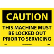 Caution, This Machine Must Be Locked Out Prior To Servicing, 10X14, Adhesive Vinyl