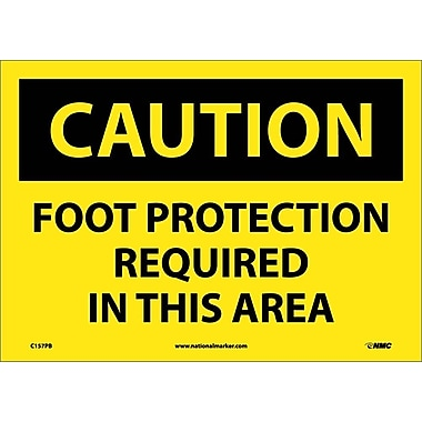 Caution, Foot Protection Required In This Area, 10X14, Adhesive Vinyl