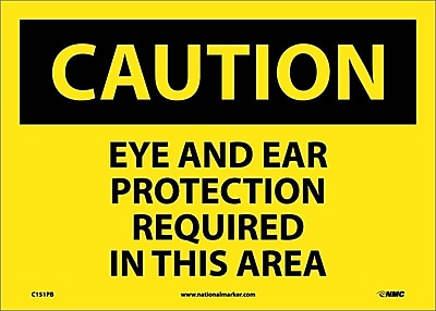 Caution, Eye And Ear Protection Required In This Area, 10X14, Adhesive Vinyl