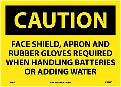 Caution, Face Shield Apron And Rubber Gloves Required, 10X14, Adhesive Vinyl