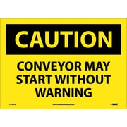 Caution, Conveyor May Start Without Warning, 10X14, Adhesive Vinyl
