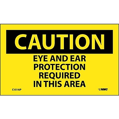 Caution, Eye And Ear Protection Required In This Area, 3X5, Adhesive Vinyl, 5/Pk