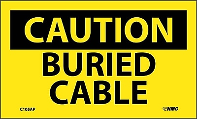 Caution, Buried Cable, 3X5, Adhesive Vinyl, 5/Pk