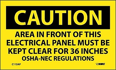 Caution, Area In Front Of This Electrical Panel . . ., 3X5, Adhesive Vinyl, 5/Pk