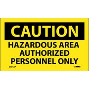 Caution, Hazardous Area  Authorized Personnel Only, 3X5, Adhesive Vinyl, 5Pk