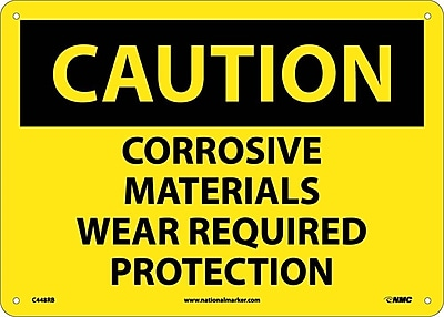 Caution, Corrosive Materials Wear Required Protection, 10X14, Rigid Plastic