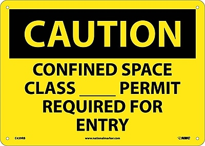 Caution, Confined Space Class__Permit Required For Entry, 10X14, Rigid Plastic