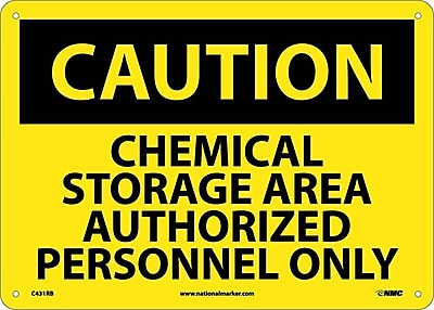 Caution, Chemical Storage Area Authorized Personnel Only, 10X14, Rigid Plastic