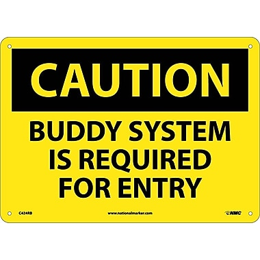 Caution, Buddy System Is Required For Entry, 10X14, Rigid Plastic