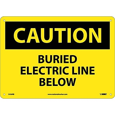 Caution, Buried Electric Line Below, 10X14, Rigid Plastic