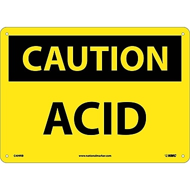 Caution, Acid, 10X14, Rigid Plastic