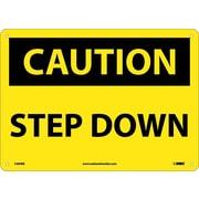 Caution, Step Down, 10X14, Rigid Plastic