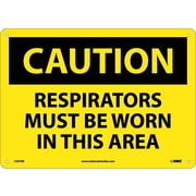 Caution, Respirators Must Be Worn In This Area, 10X14, Rigid Plastic