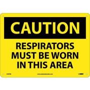 Caution, Respirators Must Be Worn In This Area, 10X14, Rigid Plastic