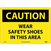 Caution, Wear Safety Shoes In This Area, 10X14, Rigid Plastic