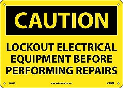 Caution, Lockout Electrical Equipment Before . . .., 10X14, Rigid Plastic