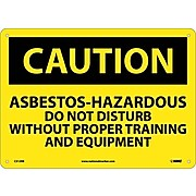 Caution, Asbestos-Hazardous .., 10X14, Rigid Plastic, Caution Sign