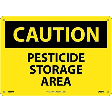 Caution, Pesticide Storage Area, 10X14, Rigid Plastic