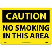 Caution, No Smoking In This Area, 10X14, Rigid Plastic