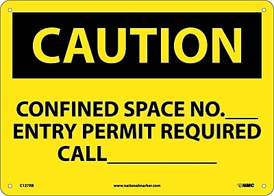 Caution, Confined Space No Entry Permit Required, 10X14, Rigid Plastic
