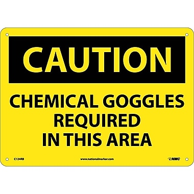 Caution, Chemical Goggles Required In This Area, 10X14, Rigid Plastic