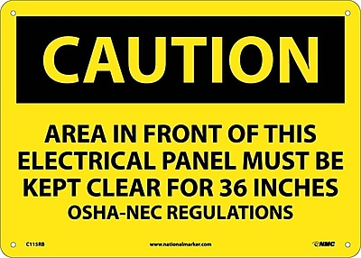 Caution, Area In Front Of This Electrical Panel . . ., 10X14, Rigid Plastic