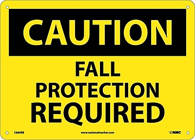 Caution, Fall Protection Required, 10X14, Rigid Plastic
