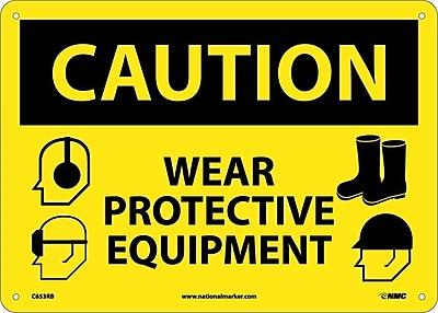 Caution, Wear Protective Equipment, Graphics, 10X14, Rigid Plastic