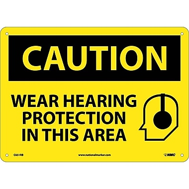 Caution, Wear Hearing Protection In This Area, Graphic, 10X14, Rigid Plastic