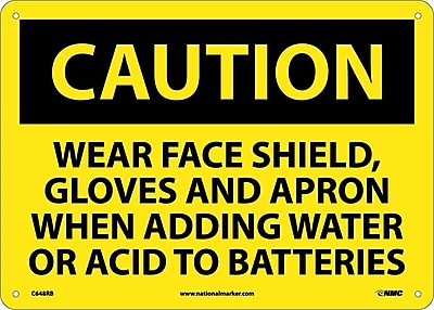 Caution, Wear Face Shield Gloves And Apron When Adding Water Or Acid To Batteries, 10X14