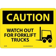 Caution, Watch Out For Fork Lift Trucks, Graphic, 10X14, Rigid Plastic