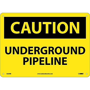 Caution, Underground Pipeline,10X14, Rigid Plastic