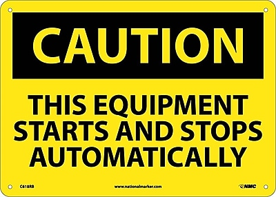 Caution, This Equipment Starts And Stops Automatically, 10X14, Rigid Plastic